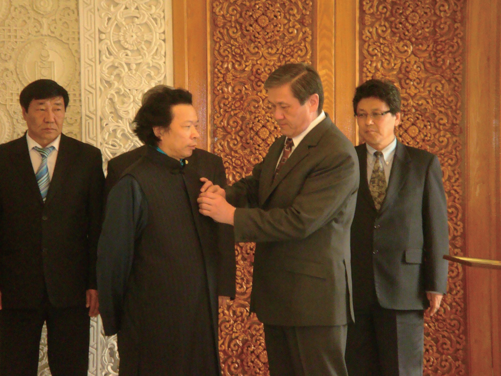 12 3The President of Mongolia confers
